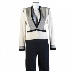 Women's Cropped Stripe Blazer Jacket