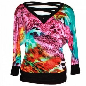 Women's Cutout Back Tropical Print Top
