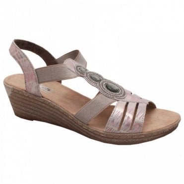 Rieker Women's Diamante Detail Wedge Sandal