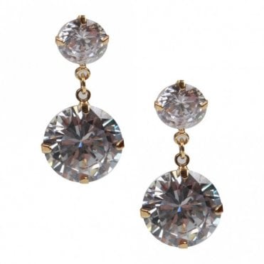 Nour London Women's Double Crystal Earrings