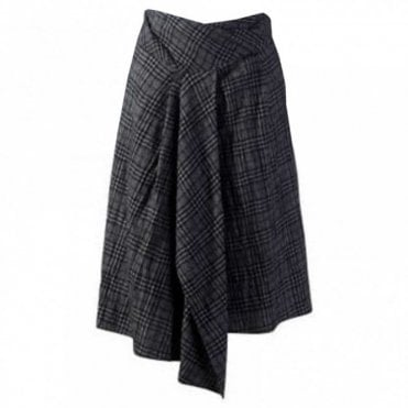 Women's Draped Woven Wool Skirt