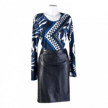 Women's Faux Leather Jersey Back Skirt