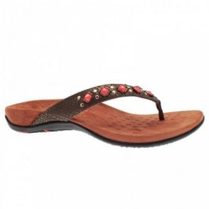 Women's Flat Toe Post Sandal With Beads