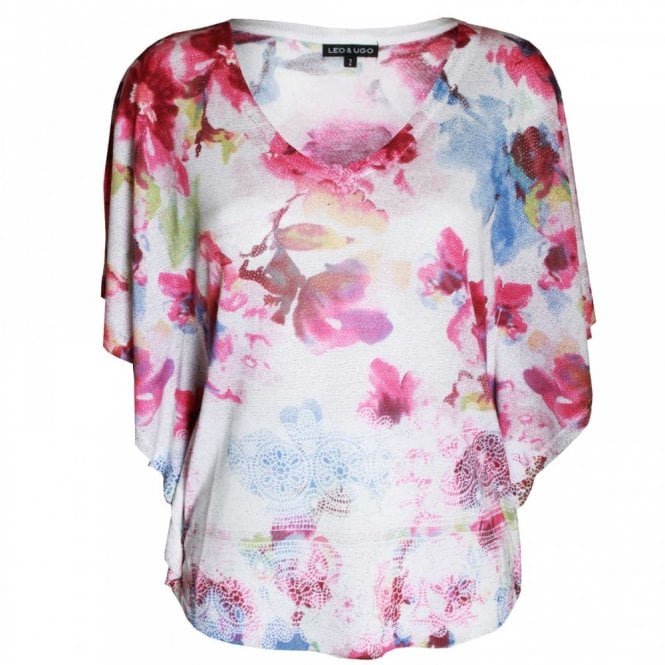Leo Guy Women's Floral Print Batwing Top