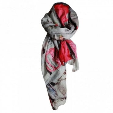 Oui Women's Floral Printed Long Scarf