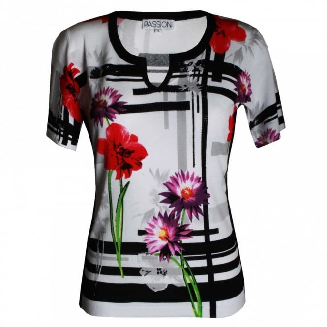 Passioni Women's Flower Print Short Sleeve Top