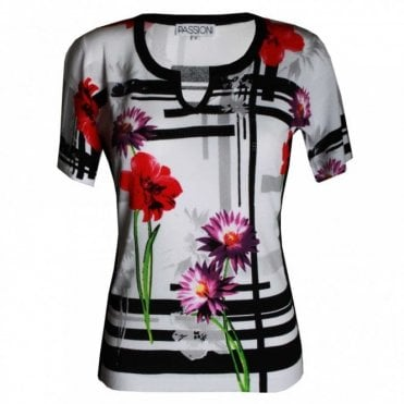 Women's Flower Print Short Sleeve Top