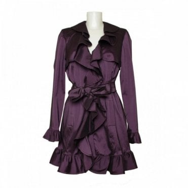 Women's Frill Front Tie Belt Coat