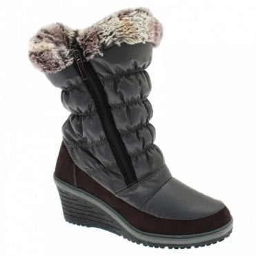 Women's Fur Lined Wedge Snow Boot
