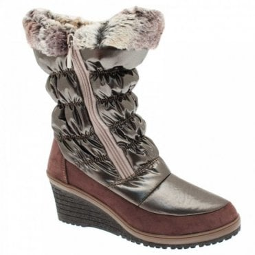 New Italia Women's Fur Lined Wedge Snow Boot