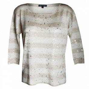 Leo Guy Women's Gold Leaf 3/4 Sleeve Top