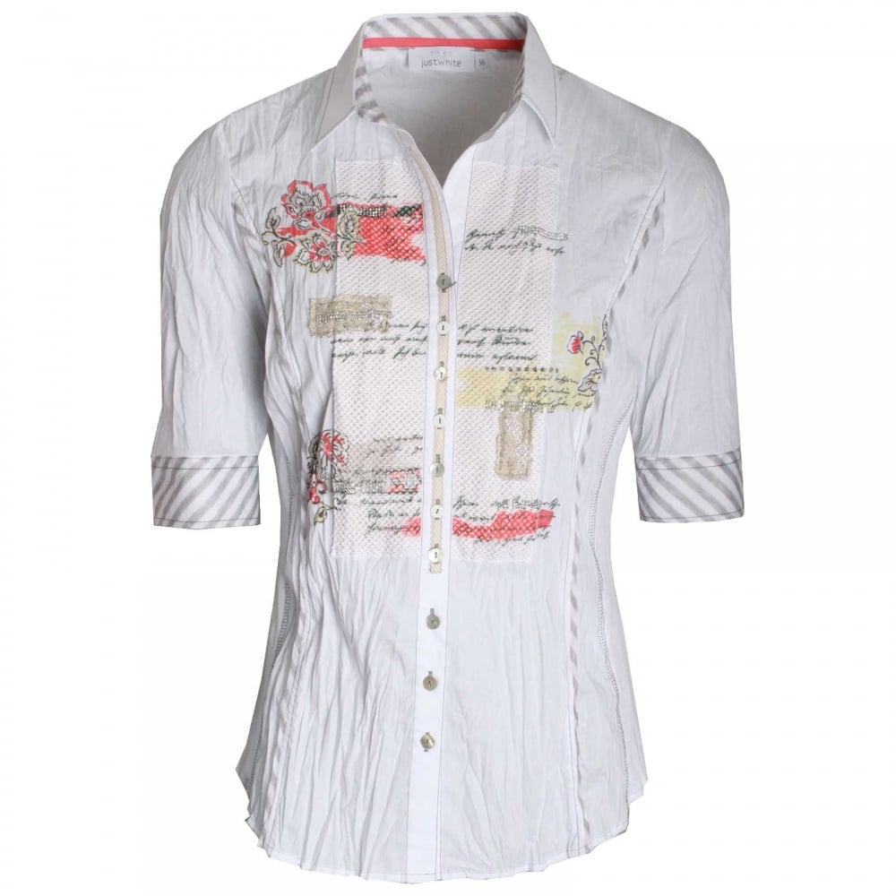 6013b4a8 Women's Half Sleeve Printed Panel Shirt By Just White At Walk In Style