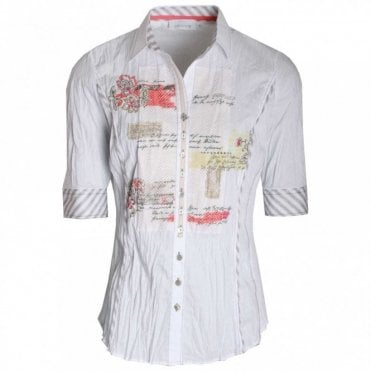 Just White Women's Half Sleeve Printed Panel Shirt
