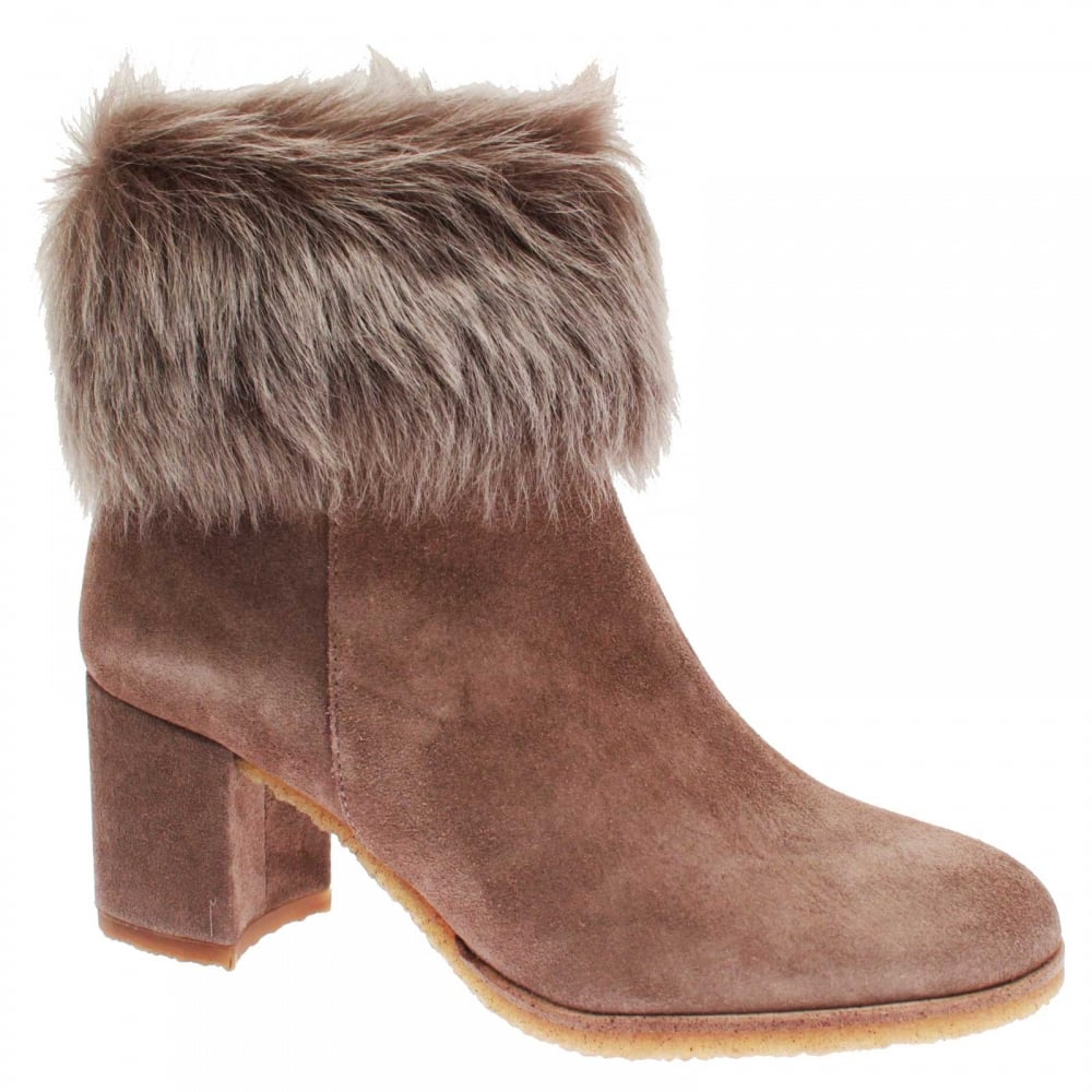 Pedro Miralles Women's High Heel Fur Top Ankle Boots At Walk In Style