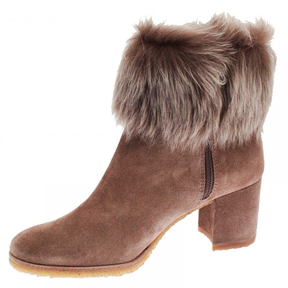 ebcb9736906 Women's High Heel Fur Top Ankle Boot