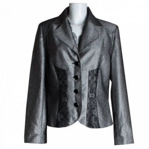 Women's Lace Panel Detail Fitted Jacket