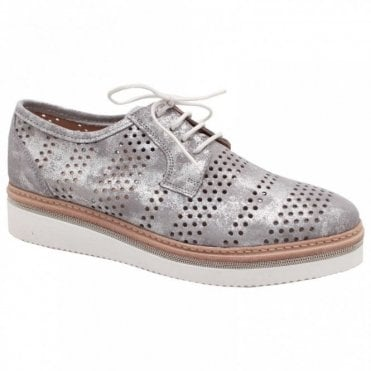 Women's Lace Up Matallic Brogue Shoe