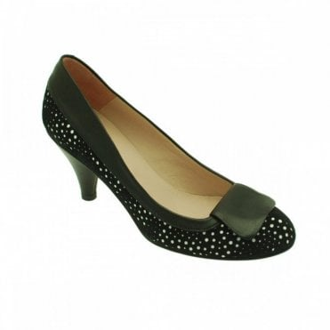 Audley Women's Laser Cut Low Heel Court Shoe