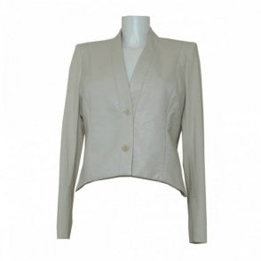 Women's Leather Panel Structured Jacket