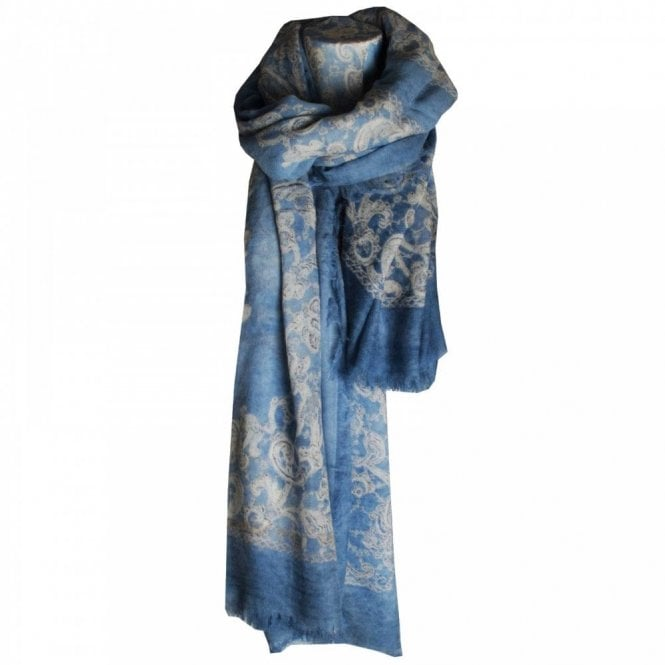 Fraas Women's Long Floral Print Wool Scarf