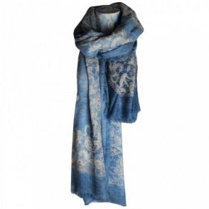 Women's Long Floral Print Wool Scarf