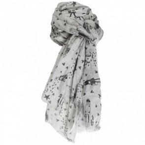 Oui Women's Long Grey Printed Scarf