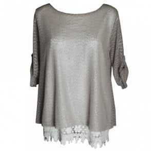 Women's Long Line Top With Lace Trim