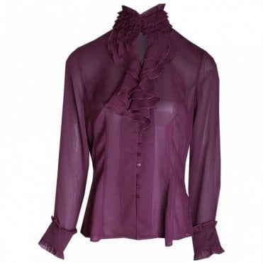 Women's Long Sleeve Frill Detail Blouse