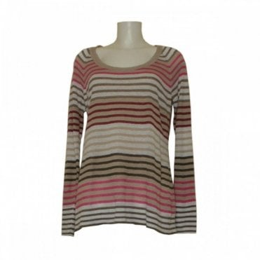 Women's Long Sleeve Linen Stripe Jumper