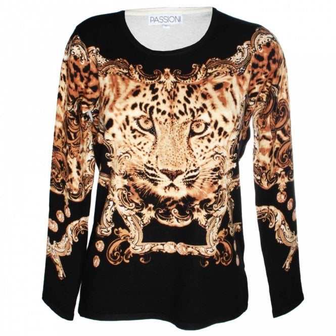 Passioni Women's Long Sleeve Printed Knit Jumper
