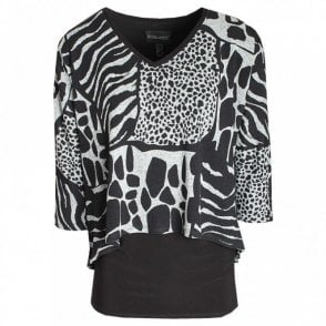 Women's Long Sleeve Printed Layered Top