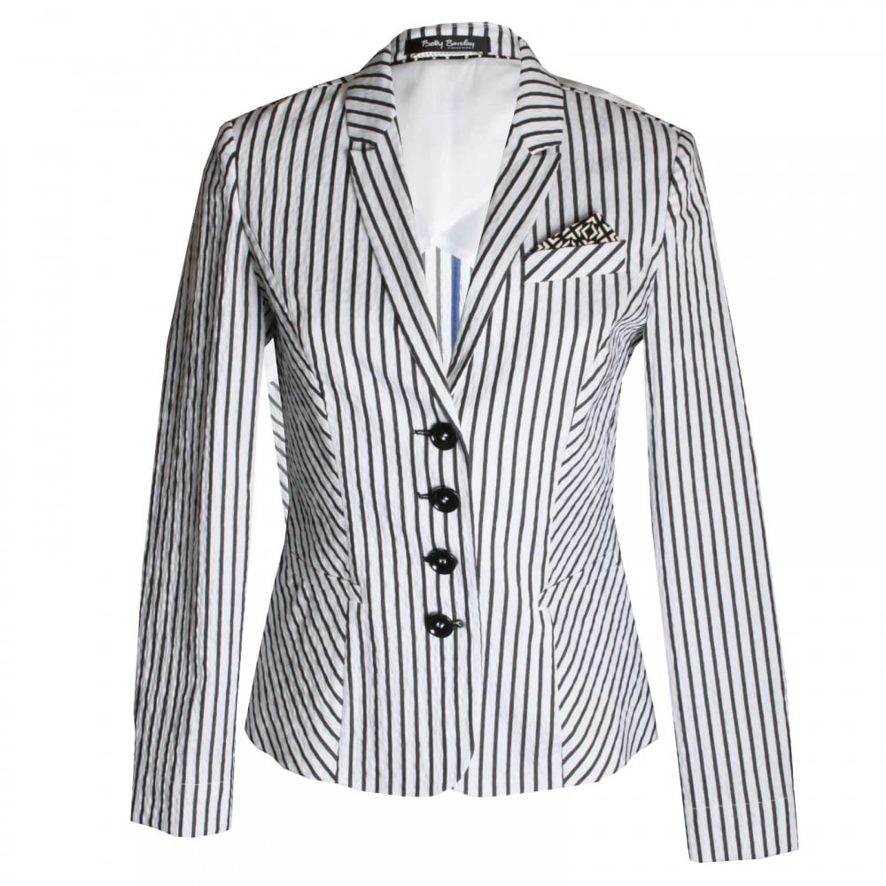 women 39 s long sleeve stripe jacket by betty barclay at walk. Black Bedroom Furniture Sets. Home Design Ideas