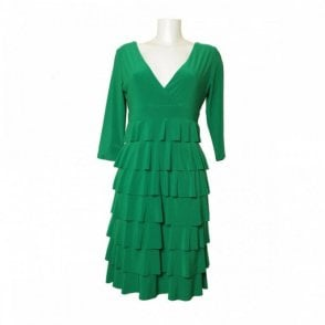 Women's Long Sleeve V-neck Frill Dress