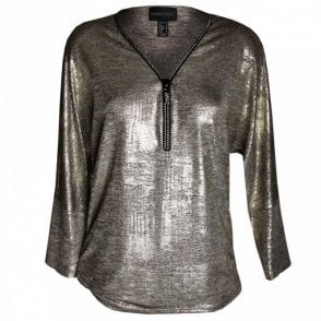 Women's Long Sleeve Zip Collar Top
