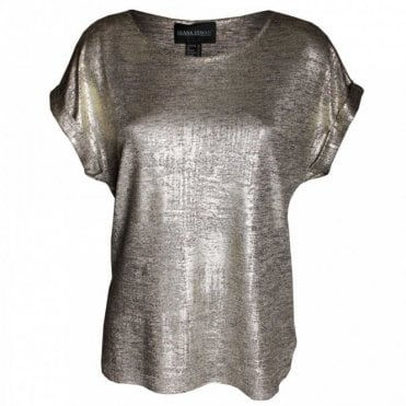 Women's Metallic Short Sleeve Top