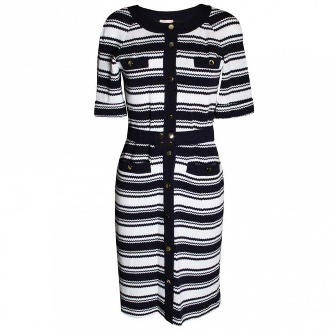 Paola Collection Women's Nautical Stripe 3/4 Sleeve Dress