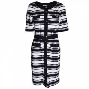 Women's Nautical Stripe 3/4 Sleeve Dress