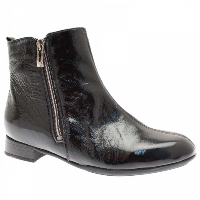 Waldläufer Women's Patent Ankle Boots With Side Zip
