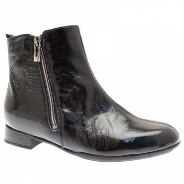 Women's Patent Ankle Boots With Side Zip