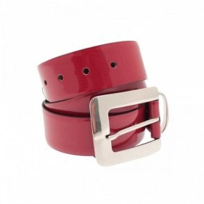Women's Patent Leather Belt With Buckle