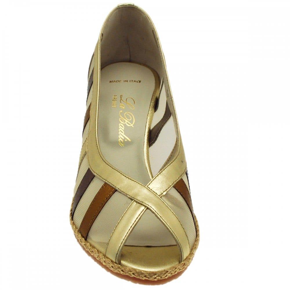 la badia cork wedge peep toe espadrille shoe