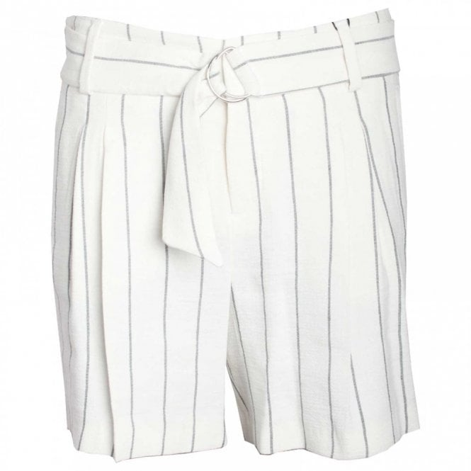 Oui Women's Pinstripe Dress Shorts With Belt