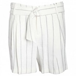 Women's Pinstripe Dress Shorts With Belt