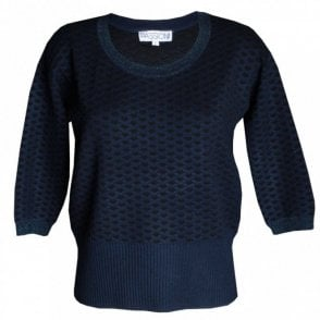 Passioni Women's Round Neck Fine Knit Blue Jumper