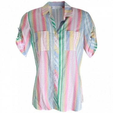 Women's Short Sleeve Candy Stripe Shirt