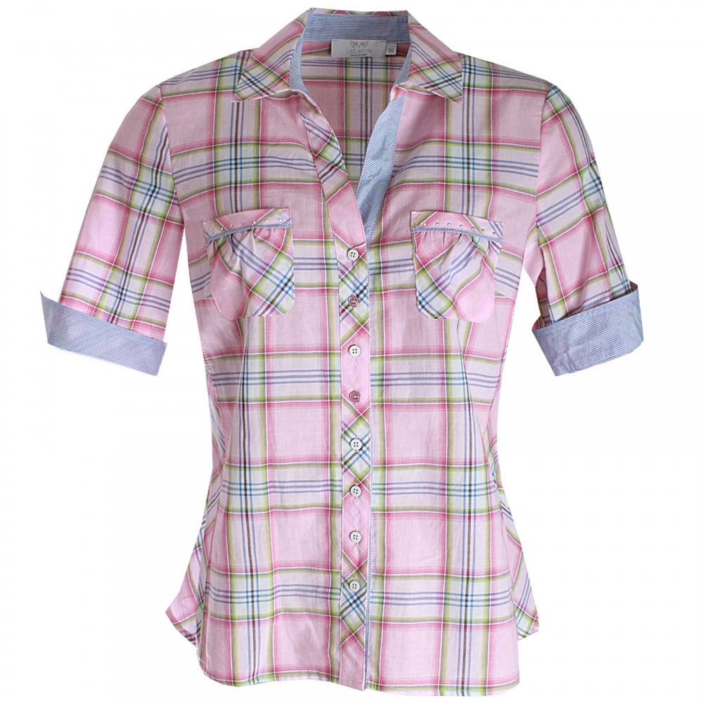 0c3ace83 Women's Short Sleeve Checked Shirt By Just White At Walk In Style