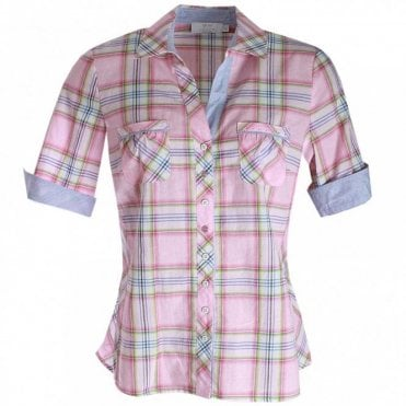 Women's Short Sleeve Checked Shirt
