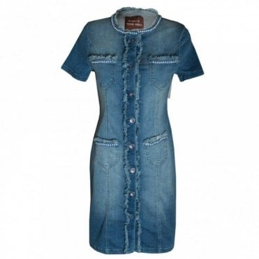 Women's Short Sleeve Denim Dress