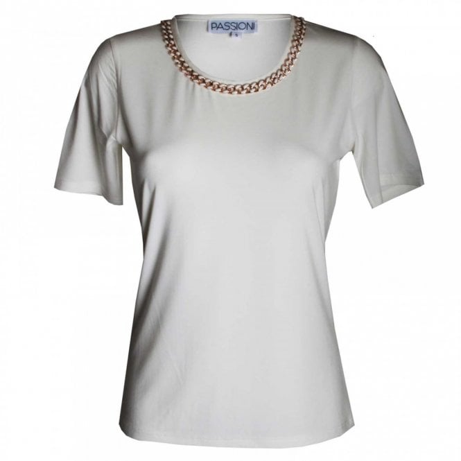 Passioni Women's Short Sleeve Gold Chain Top