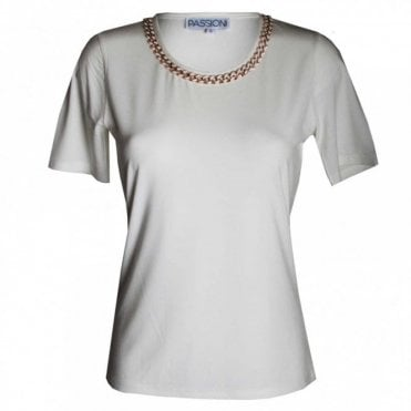 Women's Short Sleeve Gold Chain Top
